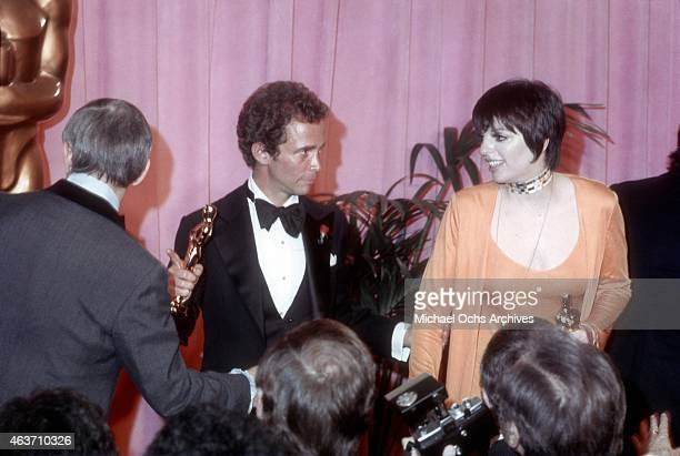 Actor Joel Grey and Liza Minnelli pose backstage after winning their Academy Awards on March 27, 1973 at the Dorothy Chandler Pavilion in Los...