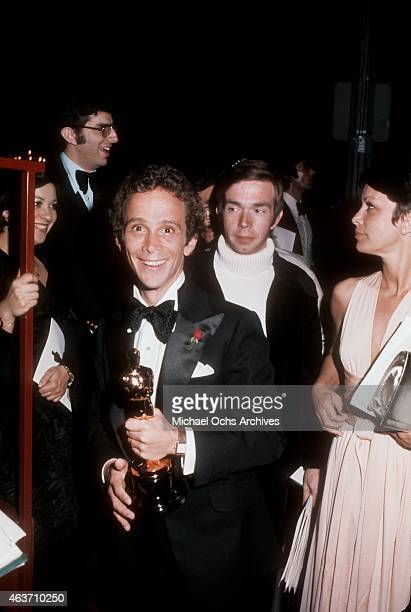 Actor Joel Grey and wife Jo Wilder at the Academy Awards on March 27, 1973 at the Dorothy Chandler Pavilion in Los Angeles, California.