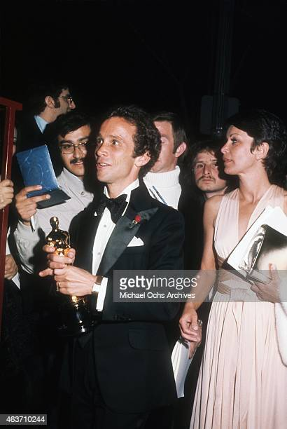 Actor Joel Grey and wife Jo Wilder at the party after the Academy Awards on March 27, 1973 in Los Angeles, California.