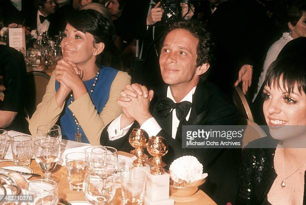 Actor Joel Grey and wife Jo Wilder with actress Liza Minnelli at the 'Cabaret' table at the Golden Globe Awards on January 28, 1973 at the Century...