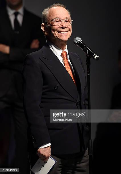 Actor Joel Grey speaks onstage at the Jeffrey Fashion Cares 13th Annual Fashion Fundraiser at the Intrepid SeaAirSpace Museum on April 4 2016 in New...