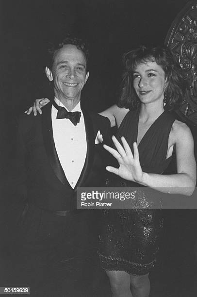 Actor Joel Grey w his daughter actress Jennifer Grey at Tony Awards party at Sardi's restuarant