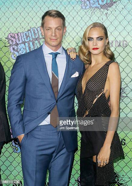 Actor Joel Kinnaman and actress/model Cara Delevingne attend the 'Suicide Squad' world premiere at The Beacon Theatre on August 1 2016 in New York...