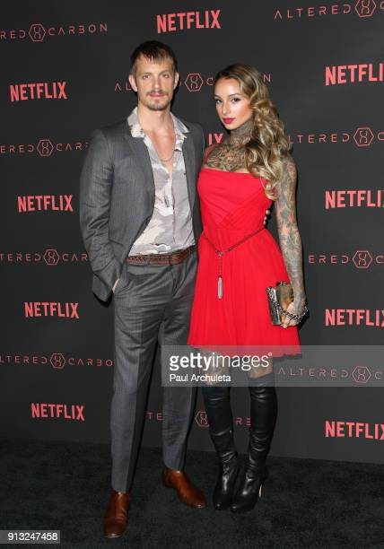 Actor Joel Kinnaman and his Wife Cleo Wattenstrom attend Netflix's 'Altered Carbon' season 1 premiere at Mack Sennett Studios on February 1 2018 in...