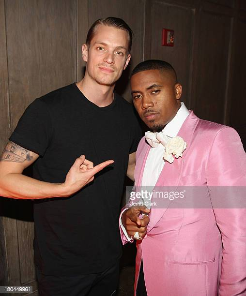 Actor Joel Kinnaman and Nas attend Nas 40th Birthday Celebration Dinner And Party at Avenue NYC on September 12, 2013 in New York City.
