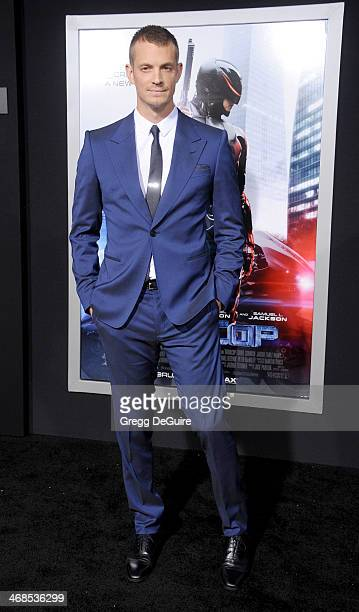 "Actor Joel Kinnaman arrives at the Los Angeles premiere of ""Robocop"" at TCL Chinese Theatre on February 10, 2014 in Hollywood, California."