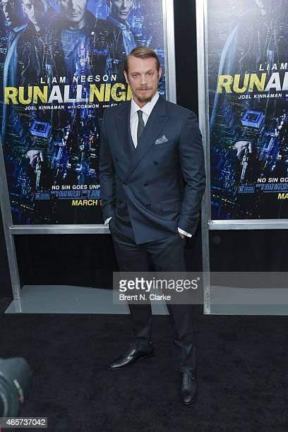 Actor Joel Kinnaman arrives for the Run All Night New York Premiere at AMC Lincoln Square Theater on March 9 2015 in New York City