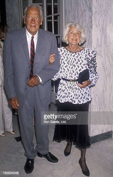 Actor Joel McCrae and actress Frances Dee attend the birthday party for George Murphy on June 23 1990 at the Regent Beverly Wilshire Hotel in Beverly...