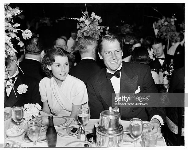 Actor Joel McCrea and wife Frances Dee attend an event in Los Angeles California