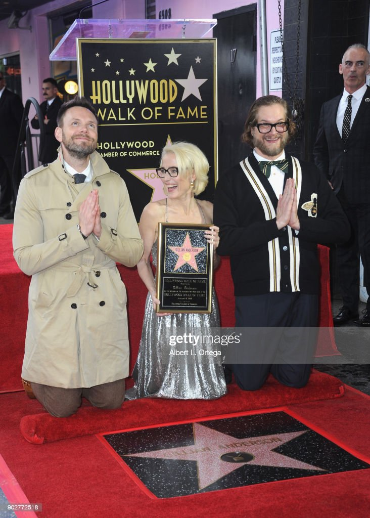 Actor Joel McHale, actress Gillian ANderson and writer Bryan Fuller at her star ceremony on The Hollywood Walk of Fame on January 8, 2018 in Hollywood, California.