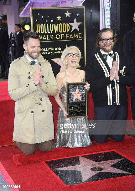 Actor Joel McHale actress Gillian ANderson and writer Bryan Fuller at her star ceremony on The Hollywood Walk of Fame on January 8 2018 in Hollywood...