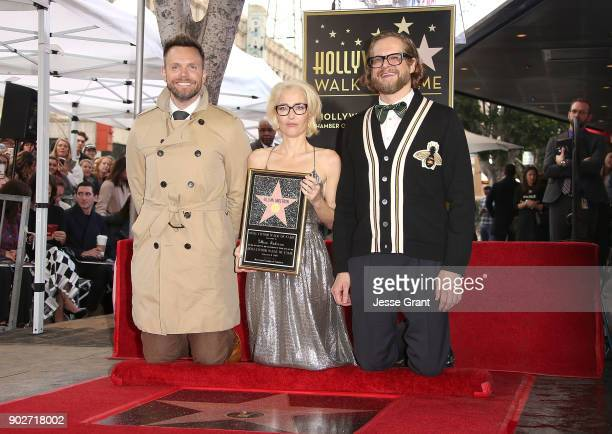 Actor Joel McHale actress Gillian Anderson and writer Bryan Fuller attend the ceremony honoring Gillian Anderson with a Star on The Hollywood Walk of...