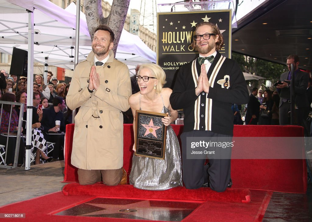 Actor Joel McHale, actress Gillian Anderson and writer Bryan Fuller attend the ceremony honoring Gillian Anderson with a Star on The Hollywood Walk of Fame on January 8, 2018 in Hollywood, California.