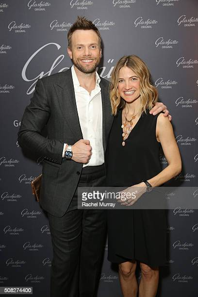 Actor Joel McHale and Sarah Williams attend the Glashutte Original celebrates the launch of manufactory book 'Impressions' at Milk Studios on...