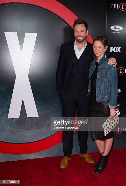 Actor Joel McHale and Sarah Williams attend the premiere of Fox's The XFiles at California Science Center on January 12 2016 in Los Angeles California