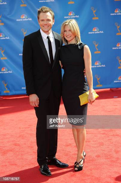 Actor Joel McHale and wife Sarah Williams arrive at the 62nd Annual Primetime Emmy Awards held at the Nokia Theatre LA Live on August 29 2010 in Los...