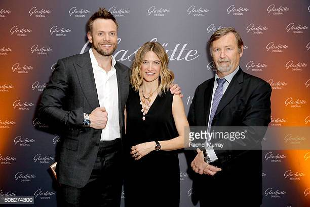 Actor Joel McHale Sarah Williams and Glashutte CEO Yann Gamard attend the Glashutte Original celebrates the launch of manufactory book 'Impressions'...