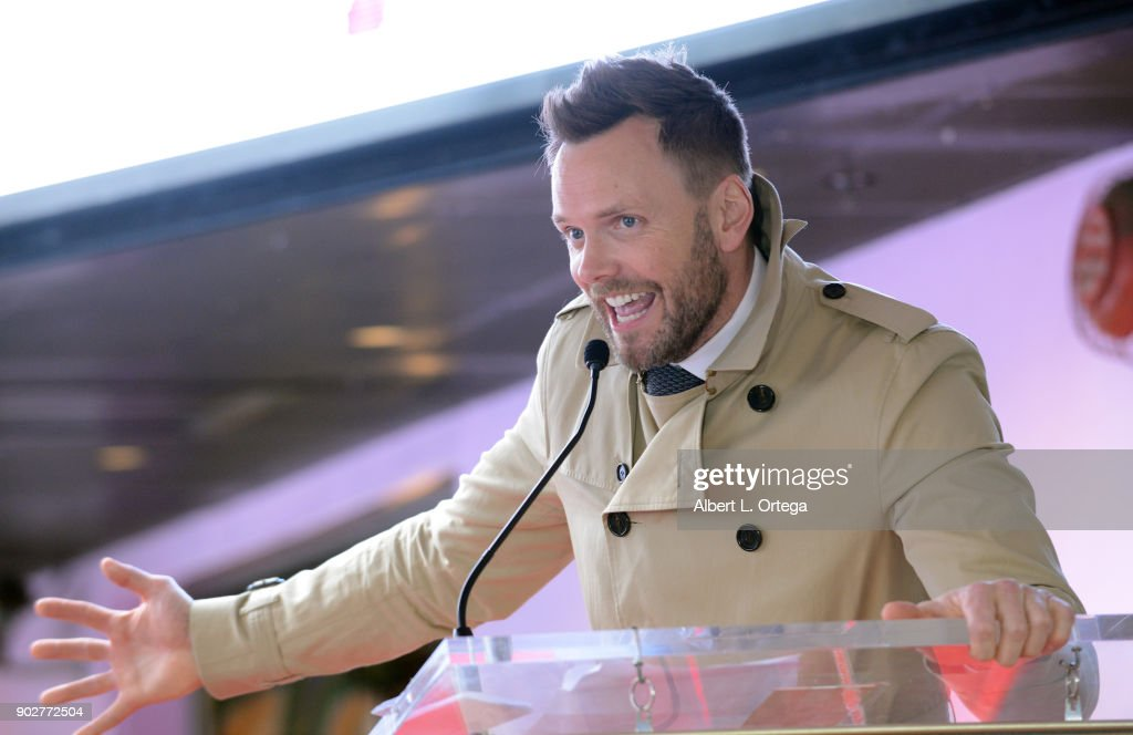 Actor Joel McHale speaks at Gillian Anderson's star ceremony on The Hollywood Walk of Fame on January 8, 2018 in Hollywood, California.