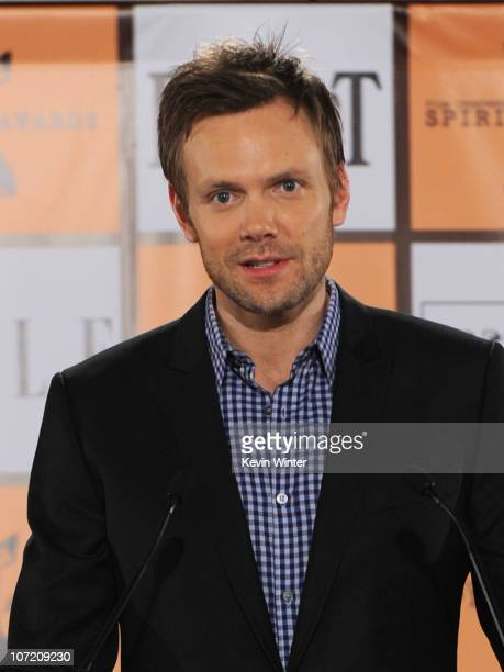 Actor Joel McHale speaks onstage during the 2011 Film Independent Spirit Award nominations press conference at The London West Hollywood on November...