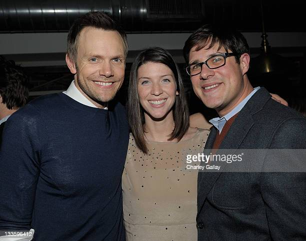 Actor Joel McHale Virginia Donohoe and actor Rich Sommer attend Remy Martin V Celebrates Joel McHale's 40th Birthday at The Redbury Hotel on November...