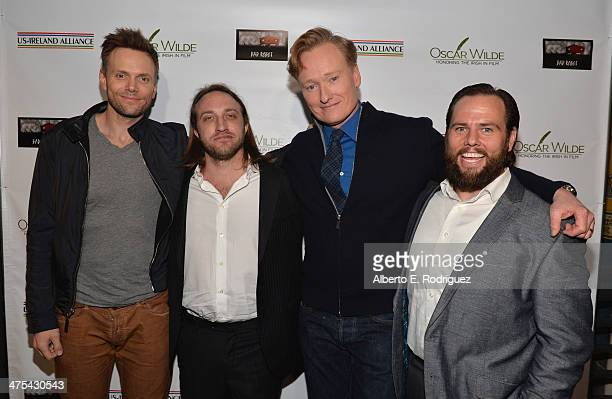 Actor Joel McHale YouTube cofounder/Honoree Chad Hurley TV Personality/Honoree Conan O'Brien and founder of Maker Studios Shay Carl attend the 9th...