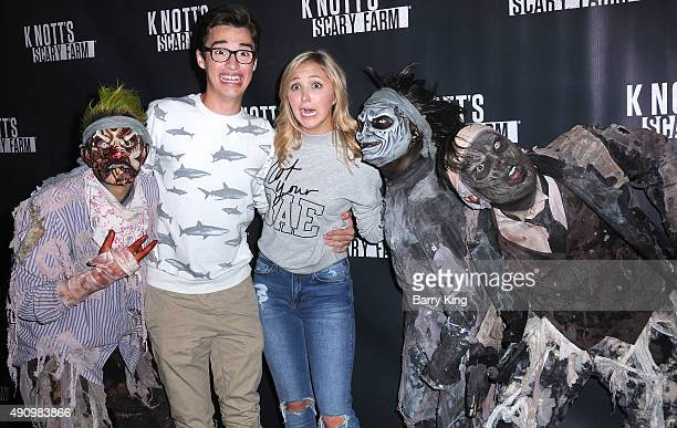 Actor Joey Bragg and actress Audrey Whitby attend Knott's Scary Farm Black Carpet at Knott's Berry Farm on October 1 2015 in Buena Park California
