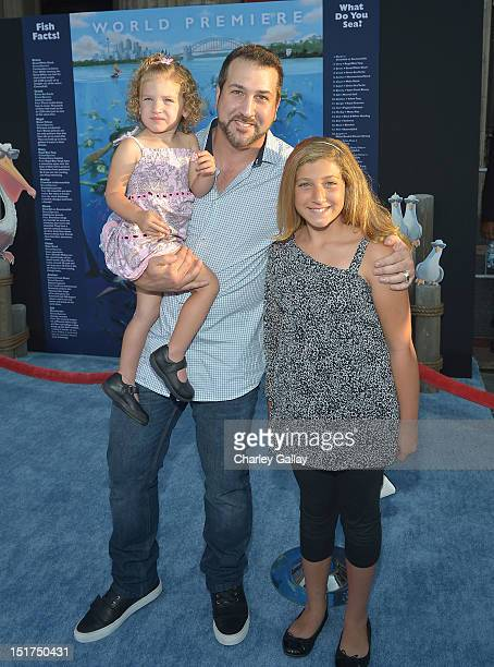 Actor Joey Fatone aand daughters Kloey Alexandra Fatone and Briahna Joely Fatone arrive at the premiere of Disney Pixar's Finding Nemo Disney Digital...