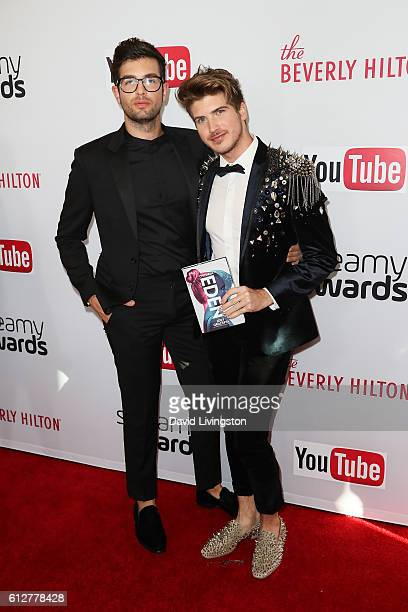 Actor Joey Graceffa and guest arrive at the 2016 Streamy Awards at The Beverly Hilton Hotel on October 4 2016 in Beverly Hills California