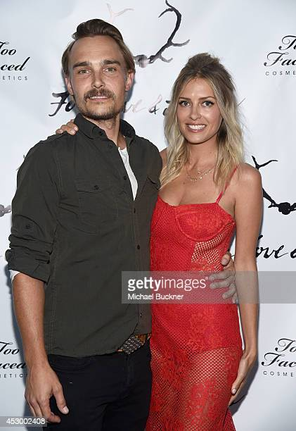 Actor Joey Kern and Gillian Mahin attend For Love and Lemons annual SKIVVIES party cohosted by Too Faced and performance by The Shoe at The...