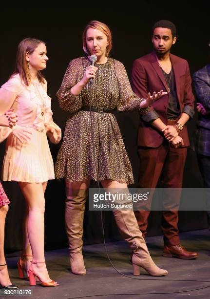 Actor Joey King director Becca Gleason and Stephen Ruffin speak onstage at the premiere of 'Summer '03' during SXSW at Stateside Theatre on March 10...