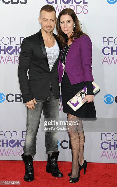 Actor Joey Lawrence and his wife Chandie YawnNelson attend the 2013 People's Choice Awards Arrivals held at Nokia Theatre LA Live on January 9 2013...