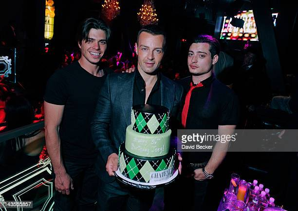 Actor Joey Lawrence celebrates his birthday with his brothers Matthew Lawrence and Andrew Lawrence at the Chateau Nightclub Gardens at the Paris Las...