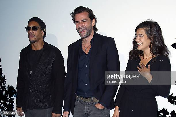 Actor Joeystarr Actor Gregory Fitoussi and Actress Melanie Doutey attends the 'La Main du Mal' Photocall during the 18th Festival of TV Fiction on...