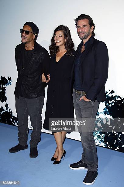 Actor Joeystarr Actress Melanie Doutey and Actor Gregory Fitoussi attend the 'La Main du Mal' Photocall during the 18th Festival of TV Fiction on...