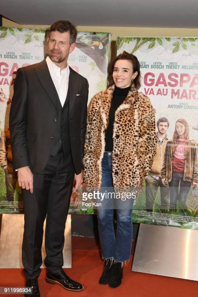 Actor Johan Heldenbergh and actress Elodie Bouchez attend the 'Gaspard va au mariage' premiere at UGC Cine Cite des Halles on January 29 2018 in...
