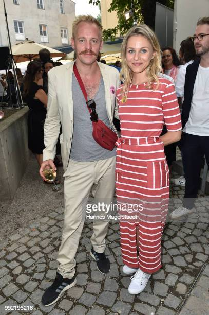 Actor Johannes Zirner and Teresa Rizos attend the FFF reception during the Munich Film Festival 2018 at Praterinsel on July 5 2018 in Munich Germany