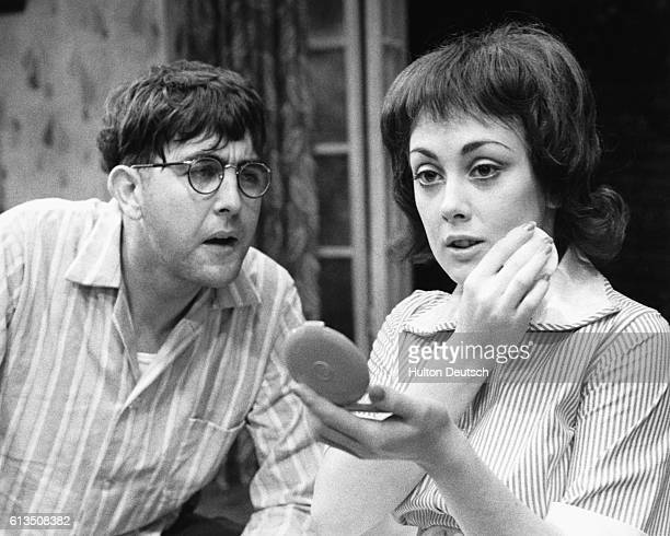Actor John Alderton as Stanley and actress Paula Wilcox as Lulu performing in Harold Pinter's play The Birthday Party at the Shaw Theatre in London...