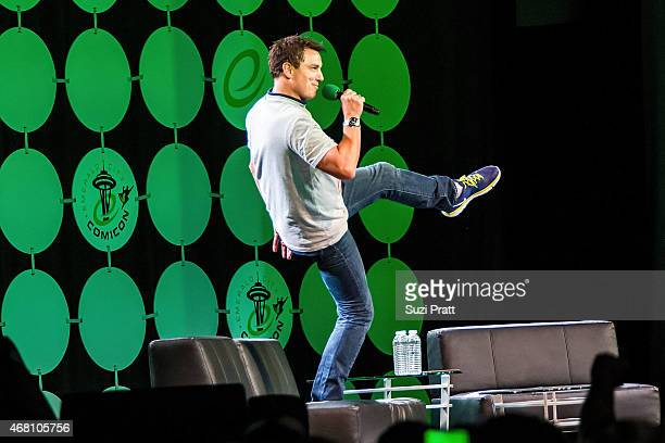 Actor John Barrowman speaks at Emerald City Comicon on March 29 2015 in Seattle Washington