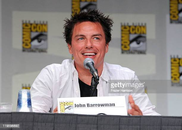 Actor John Barrowman speaks at Starz Torchwood Panel during ComicCon 2011 on July 22 2011 in San Diego California