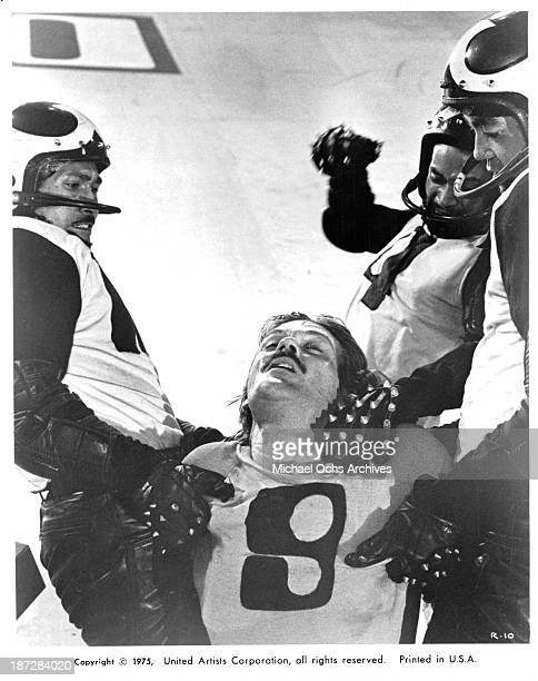 Actor John Beck on set of the United Artist movie Rollerball in 1975