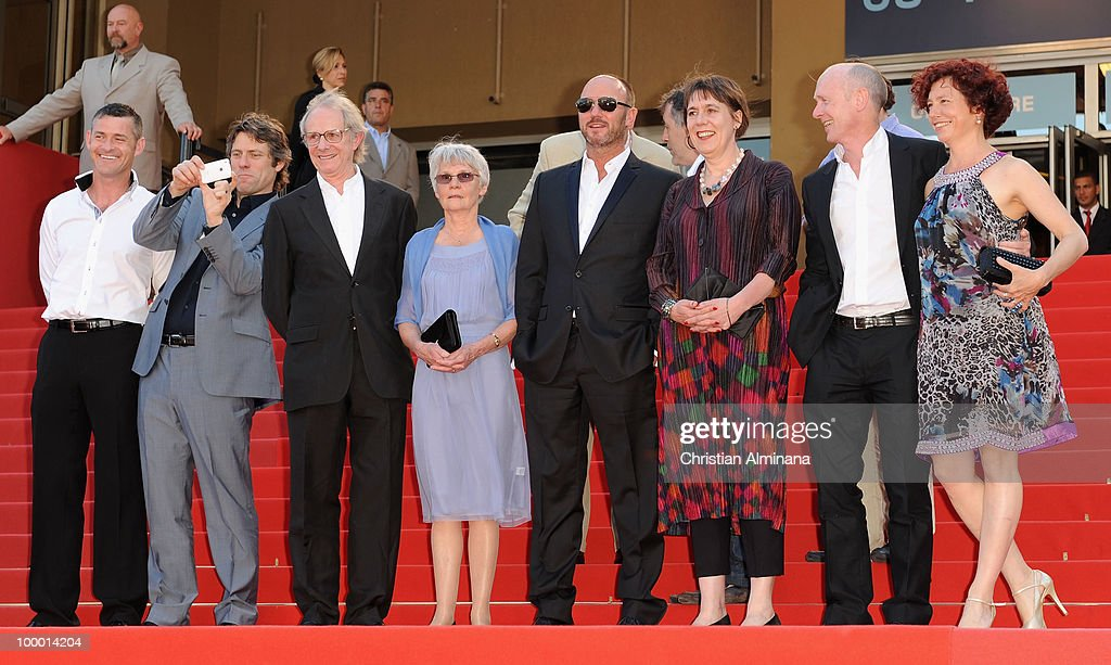 Actor John Bishop (2L), Director Ken Loach, Lesley Ashton, Scandar Copti and screen writer Paul Laverty (2R) attend the 'Route Irish' Premiere held at the Palais des Festivals during the 63rd Annual International Cannes Film Festival on May 20, 2010 in Cannes, France.