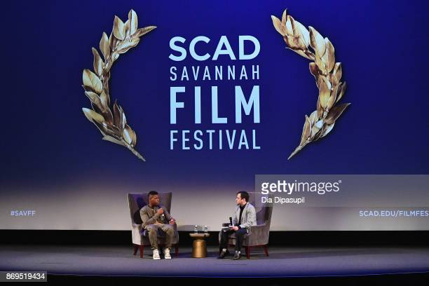 Actor John Boyega and moderator Scott Feinberg onstage at 'Detroit' Q&A during 20th Anniversary SCAD Savannah Film Festival on November 2, 2017 in...