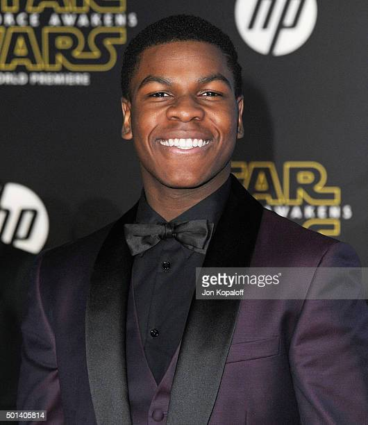 Actor John Boyega arrives at the Los Angeles Premiere Star Wars The Force Awakens on December 14 2015 in Hollywood California