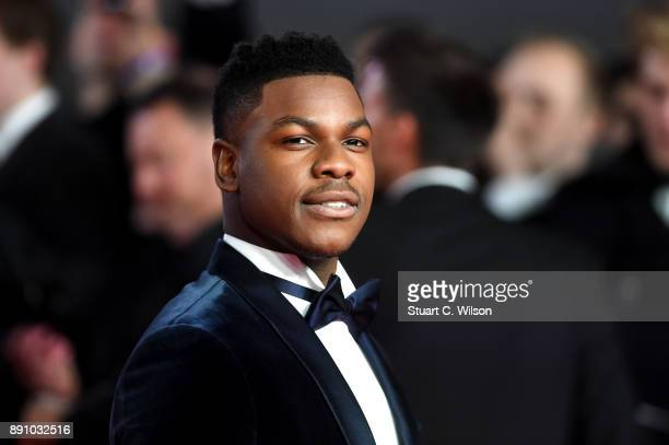 Actor John Boyega attends the European Premiere of 'Star Wars The Last Jedi' at Royal Albert Hall on December 12 2017 in London England