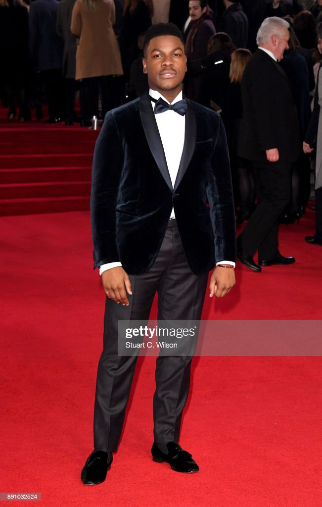 Actor John Boyega attends the European Premiere of 'Star Wars: The Last Jedi' at Royal Albert Hall on December 12, 2017 in London, England.