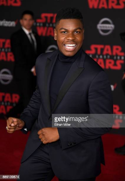 Actor John Boyega attends the premiere of Disney Pictures and Lucasfilm's 'Star Wars The Last Jedi' at The Shrine Auditorium on December 9 2017 in...