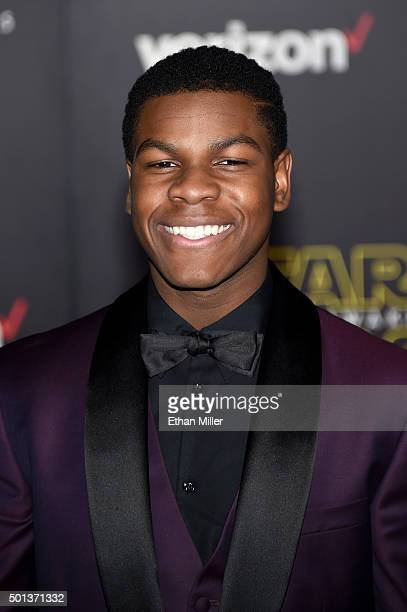 Actor John Boyega attends the premiere of Walt Disney Pictures and Lucasfilm's Star Wars The Force Awakens at the Dolby Theatre on December 14 2015...