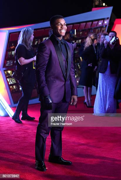 """Actor John Boyega attends the premiere of Walt Disney Pictures and Lucasfilm's """"Star Wars: The Force Awakens"""" on December 14th, 2015 in Hollywood,..."""