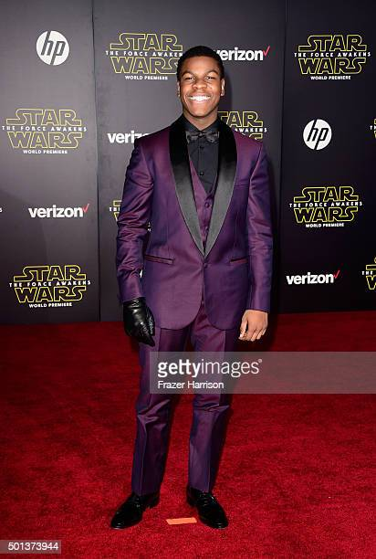 Actor John Boyega attends the premiere of Walt Disney Pictures and Lucasfilm's Star Wars The Force Awakens on December 14th 2015 in Hollywood...