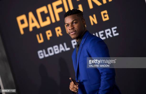 Actor John Boyega attends the Universal Premiere 'Pacific Rim Uprising at the Chinese Theater on March 21 in Hollywood California / AFP PHOTO /...